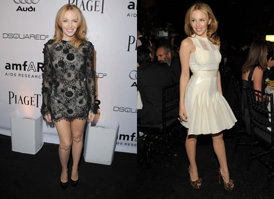 Kylie Minogue Wears Ungaro and David Koma at the amfAR Inspiration Gala