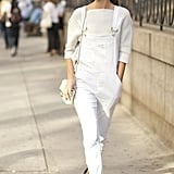 What's cooler than Hanneli in her Frame denim overalls and heels?