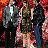 Emma Stone shared the stage with Steve Carell and Ryan Gosling in 2011.