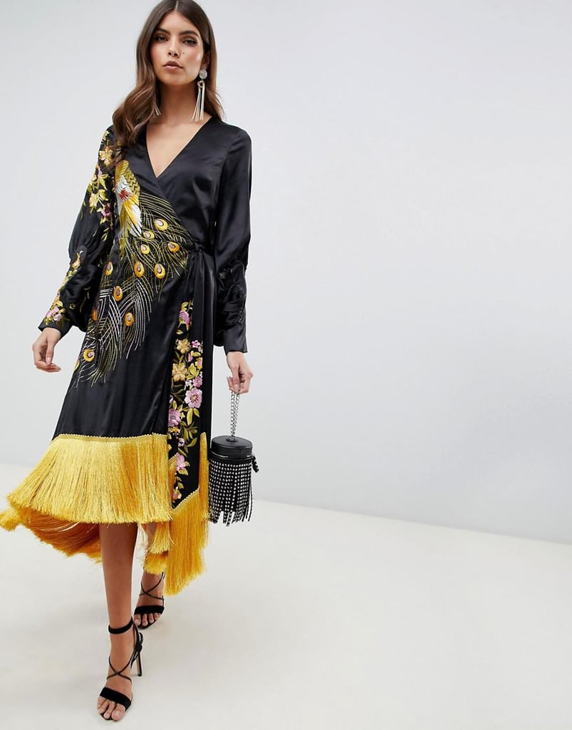 e58b16abf6 ASOS Design Kimono Midi Dress With Fringe in Embroidered Satin Peacock