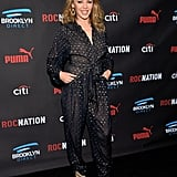 Kylie Minogue wore a jumpsuit to the Roc Nation and Three Six Zero brunch.