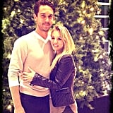 Kaley Cuoco and Ryan Sweeting embraced each other in front of a Christmas tree. Their holiday romance will reach a fever pitch on New Year's Eve, when they get married and ring in 2014 all on the same night!  Source: Instagram user normancook