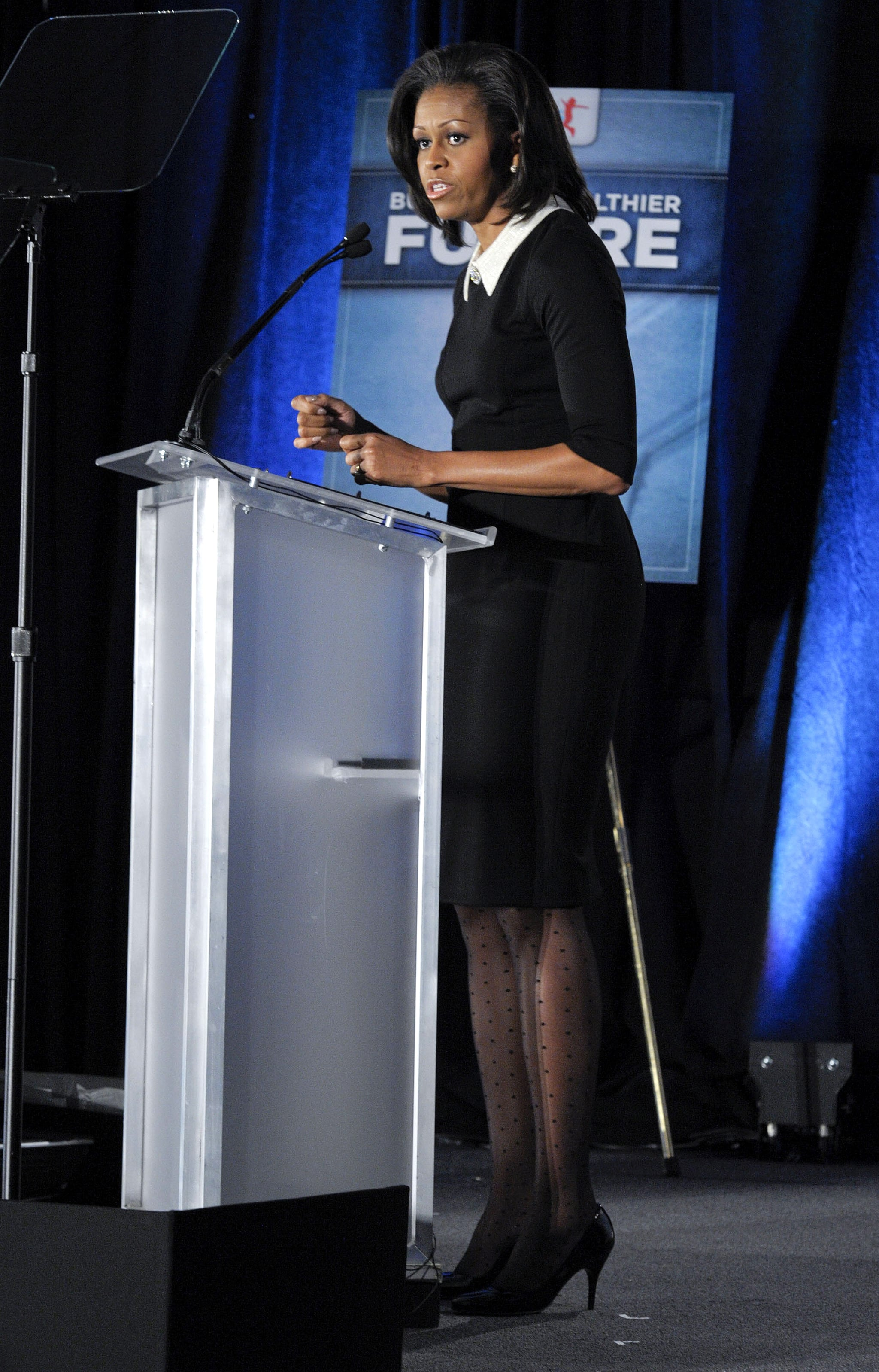 Michelle looked professional and superchic in this collared Jason Wu dress. The polka-dot tights were an added accessory bonus!