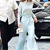 Gigi was spotted with a white Stalvey bag in NYC, which she wore with powder blue Sally LaPointe separates.