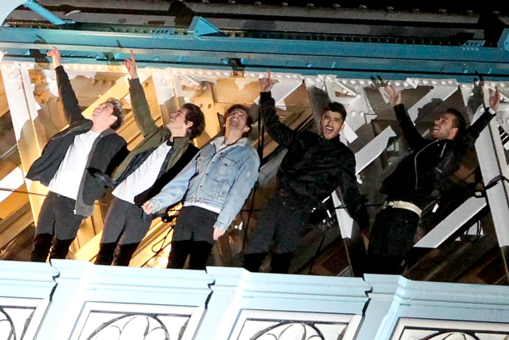 Niall Horan, Harry Styles, Louis Tomlinson, Zayn Malik, and Liam Payne brought their high energy to the set of the new One Direction music video.
