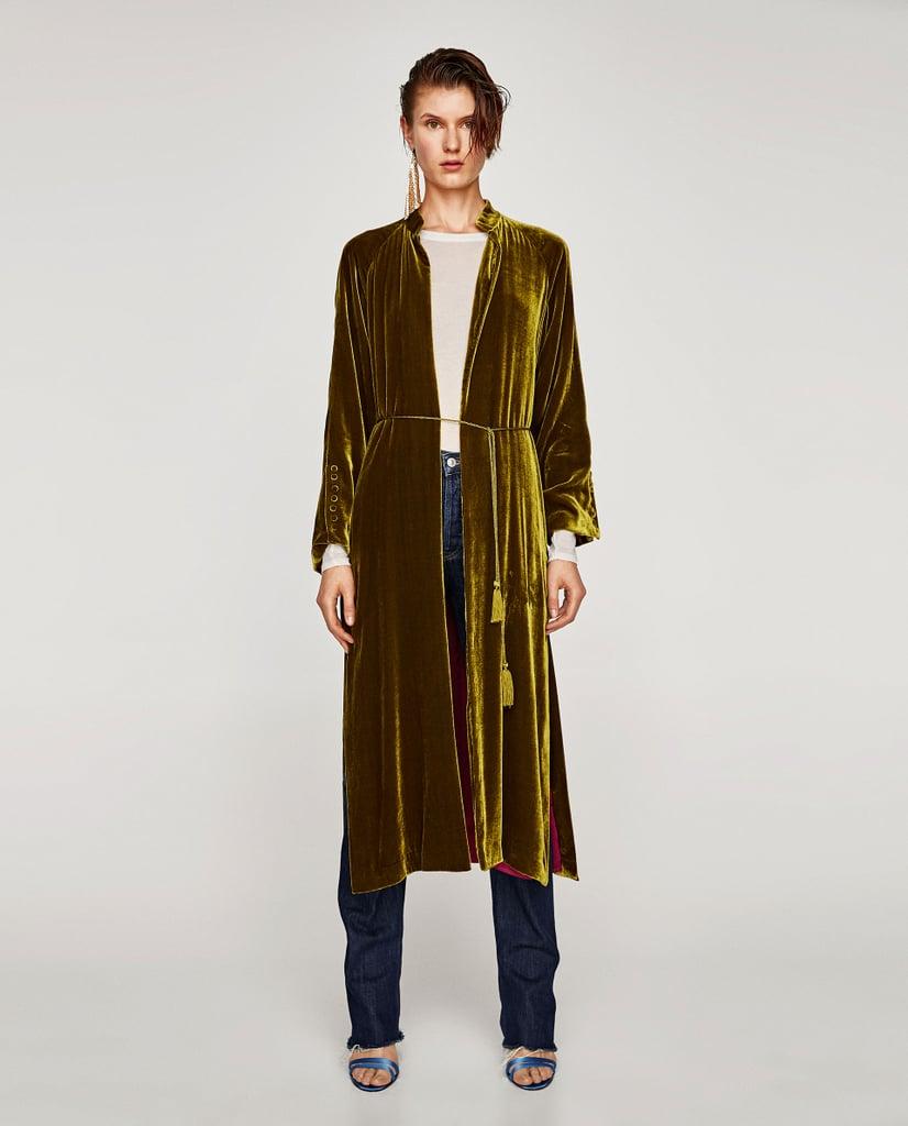 Zara Long Silk Velvet Kimono