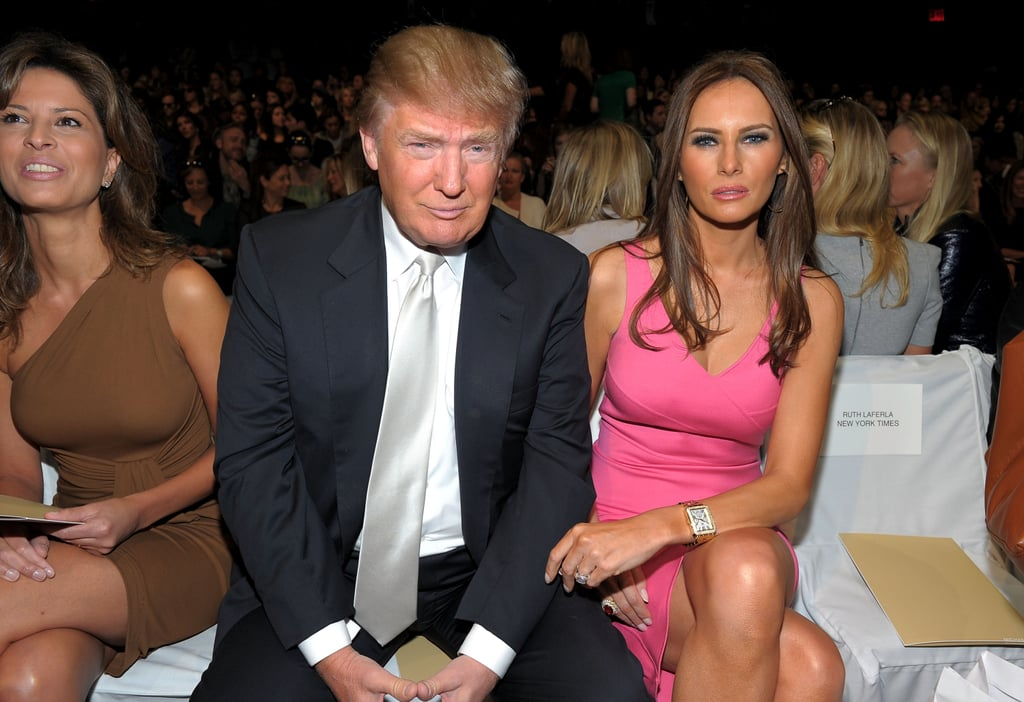 Melania and Donald sat front row at the Michael Kors Spring 2011 fashion show. Melania wore a pink bandage-style dress.