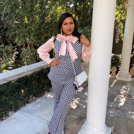 Mindy Kaling Means Business in Her Pink Pussy-Bow Blouse