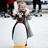 A little girl skated in the elf village at LaplandUK in England.