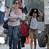 Jennifer Connelly and Agnes Bettany walked Stellan Bettany to school.