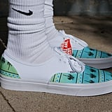 Custom Vans Authentic Original Blue Tropics Palm Tree Tropical Green Men's Shoes