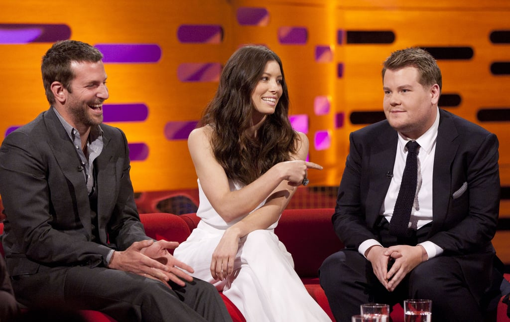 Bradley Cooper, Jessica Biel, and comedian James Corden dropped by The Graham Norton Show.