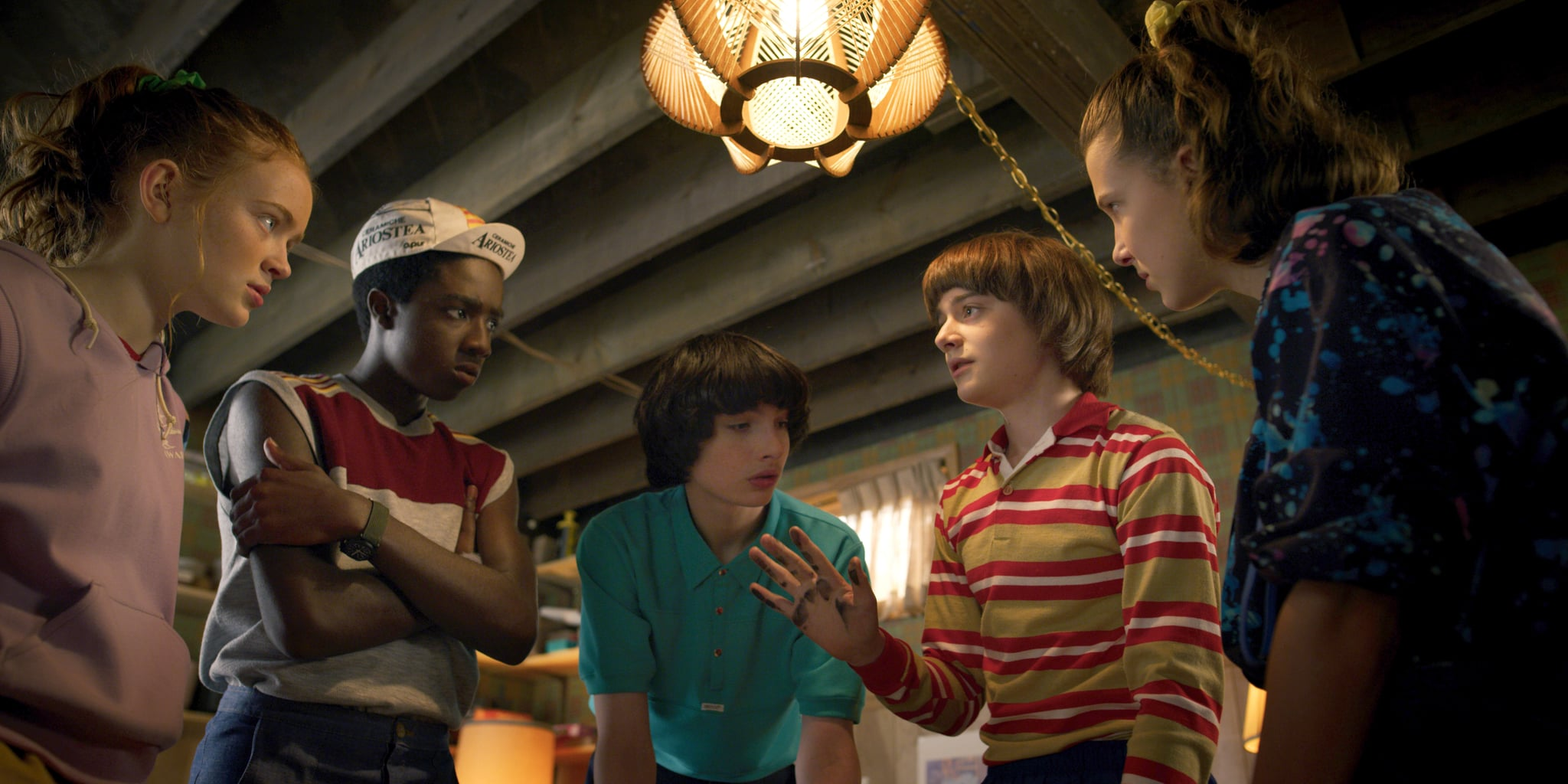 STRANGER THINGS, from left: Sadie Sink, Caleb McLaughlin, Finn Wolfhard, Noah Schnapp, Millie Bobby Brown, (Season 3, aired July 4, 2019), ph: Netflix / Courtesy Everett Collection