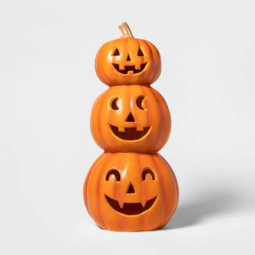 Lit Triple Pumpkin Decorative Halloween Prop
