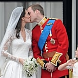 Kate Middleton and Prince William sealed their love with a kiss after their April 2011 wedding in London.