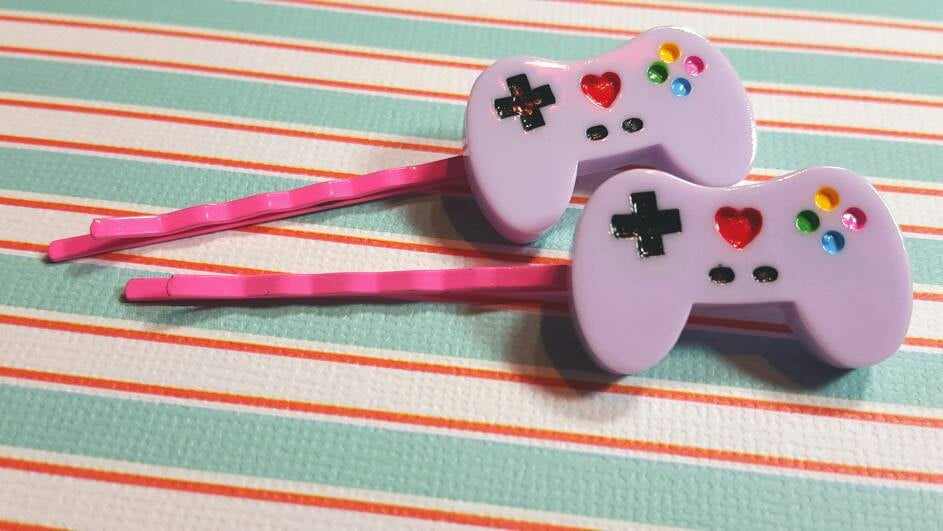 Lavender Gamer Controller Fairy Kei Bobby Pins ($6)