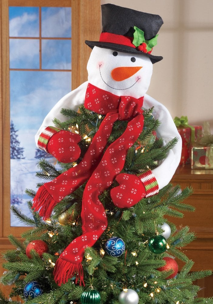 This cuddly Christmas Snowman Top of the Tree Hugger ($12) will look adorable on a real or artificial pine.