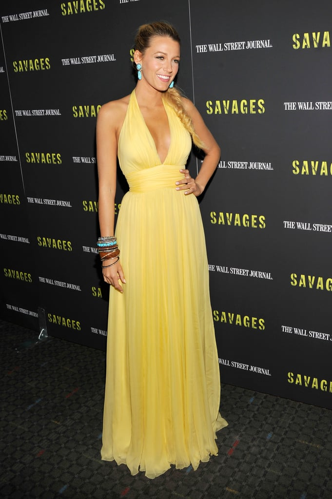 Blake Lively stepped out for the NYC premiere in this pale yellow Gucci gown.