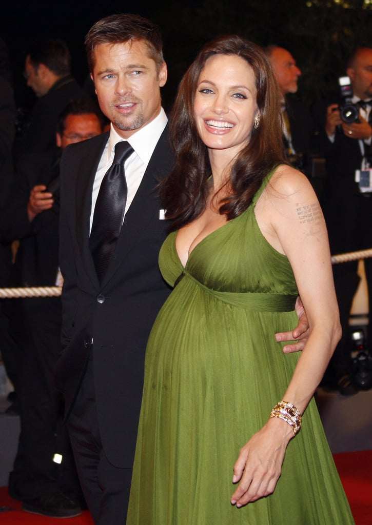He joined his then-girlfriend Angelina at the Cannes Film Festival in May 2008 — she was pregnant with the couple's twins, Knox and Vivienne, at the time.