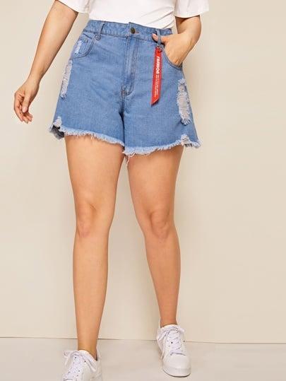 Shein Plus Raw Hem Ribbon Ripped Denim Shorts