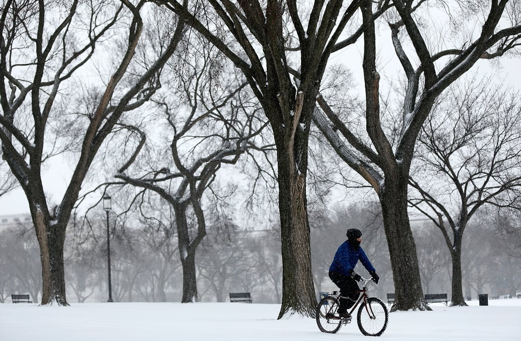In Washington DC, a man rode his bicycle through the snowy National Mall.