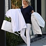 Cameron Diaz wore white jeans to go shopping in California.