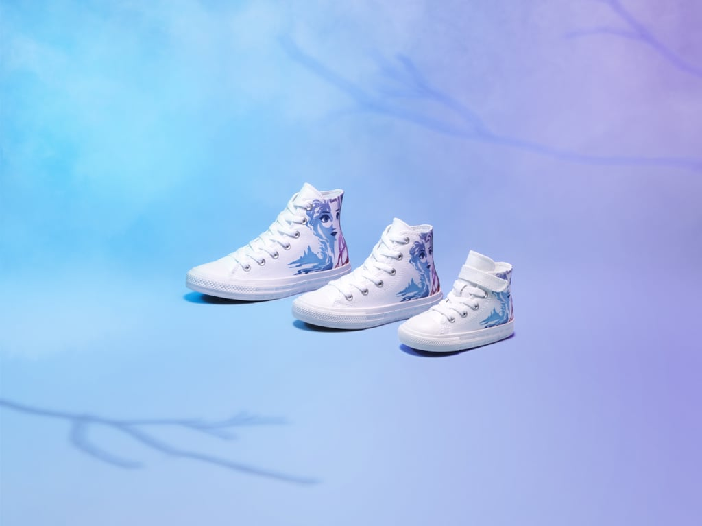 """You won't catch us singing """"Let It Go"""" in reference to Converse's newest line of sneakers — the brand teamed up with Disney to release Frozen 2-inspired high- and low-top sneakers for toddlers, kids, teens, and even adults. The adorable pairs, which feature Queen Elsa, Princess Anna, Olaf, and more Frozen 2-themed designs, are available now on Converse's site. Read through to see and shop them all — these would make for perfect moviegoing sneakers for Frozen 2's Nov. 22 release, or great holiday gifts for teens, kids, toddlers, and adults who love Disney!      Related:                                                                                                           85 Magical Gifts For the Kid Who Loves Harry Potter"""