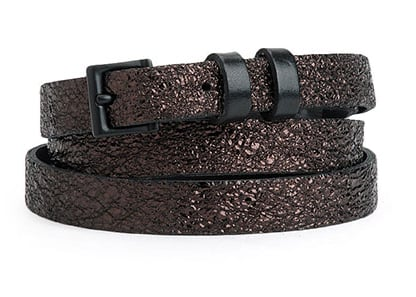 Rag & Bone's skinny brown metallic belt ($90, originally $175) is a must have for two reasons: the discounted price tag and the cool combo of brown and black!