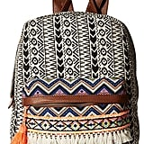 Printed Backpack with Tassel