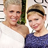 Busy Philipps escorted Michelle Williams, who wore blue Jason Wu, to the 2012 Golden Globe Awards.