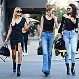 The Girls Were Joined By Their Friend Hailey Baldwin, Who Wore a Black Dress