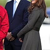 Kate Middleton and Prince William made a smiley appearance at the National Football Center in Burton, England in October 2012.