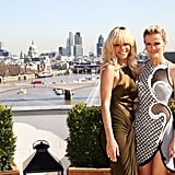 Rihanna and Brooklyn Decker shared the view from the Corinthia Hotel at a photocall for Battleship in London.