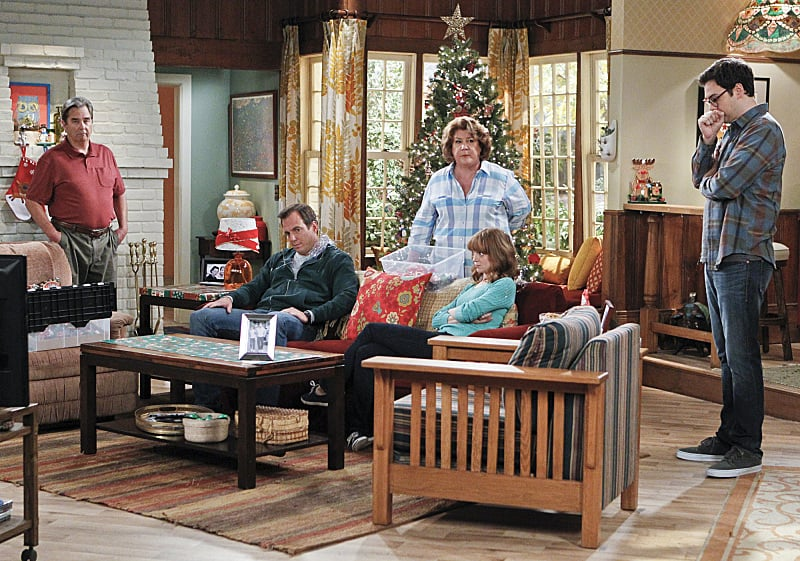 "The Millers Tom (Beau Bridges), Nathan (Will Arnett), Carol (Margo Martindale), Debbie (Jayma Mays), and Adam (Nelson Franklin) appear on The Millers' Dec. 12 holiday episode, ""Carol's Parents Are Coming to Town,"" on CBS."