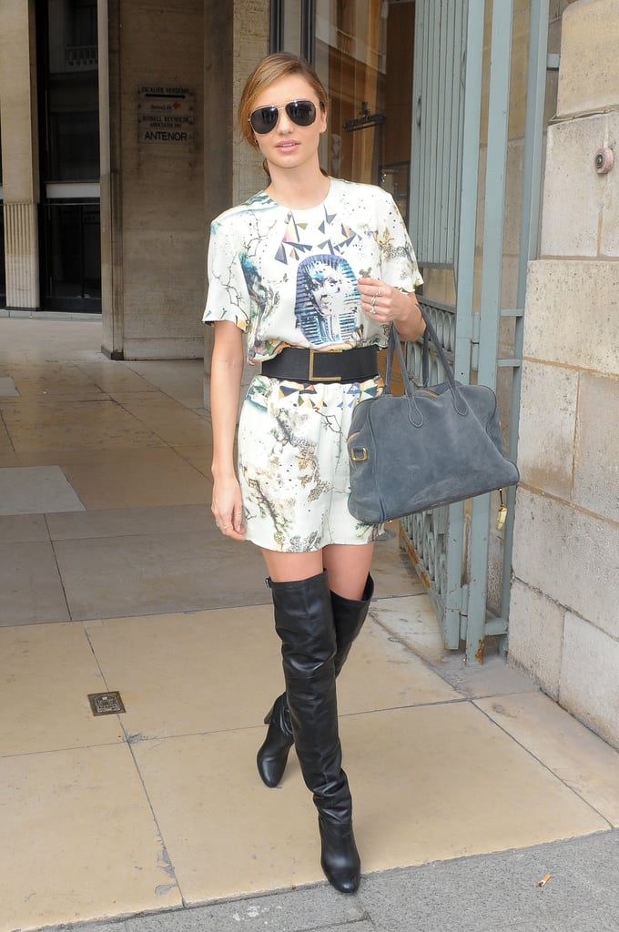 Miranda Kerr made the most of a trip to Paris, shopping up a storm at Balmain. And can we just take a moment to appreciate how she's nailed over-the-knee boots?
