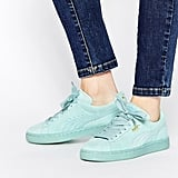 Puma Basket Suede Classic Mint Green Trainers (£55)