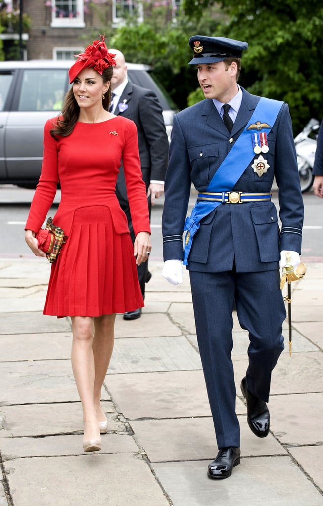Bold red worked on the never-saucy Kate, who picked the color for a professional outing with husband Prince William.