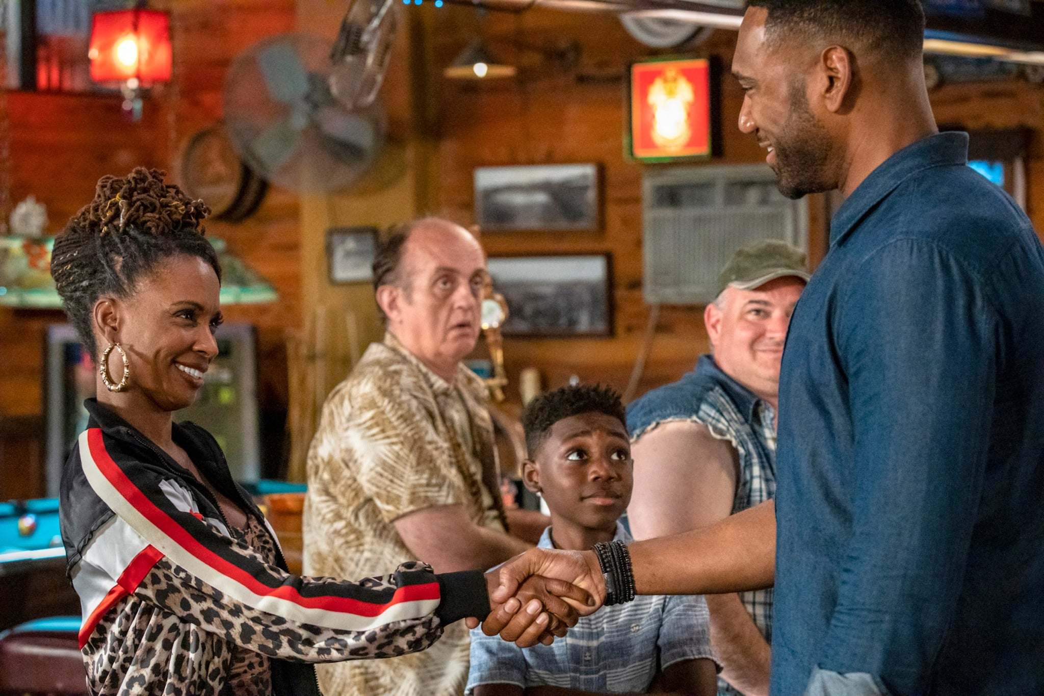 SHAMELESS, from left: Shanola Hampton, Christian Isaiah, Anthony Alabi, 'Which America?', (Season 10, ep. 1003, aired Nov. 24, 2019). photo: Paul Sarkis / Showtime / courtesy Everett Collection
