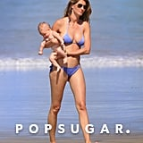 Gisele Bündchen wore a purple bikini for a beach day with daughter Vivian in Costa Rica.