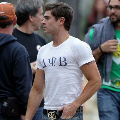 Zac Efron Wears a Tight T-Shirt on Townies Set