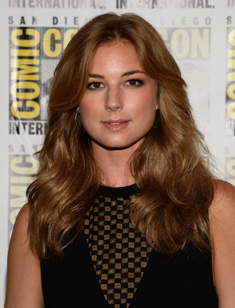 Emily VanCamp looked as if she's opted for a darker hair shade while attending a red carpet premiere at Comic-Con.