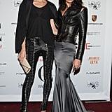 Black leather-clad ladies Karolína Kurková and Crystal Renn hit the Mademoiselle C premiere.