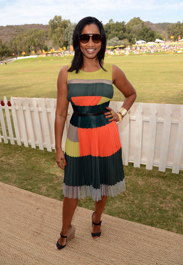 Garcelle Beauvais showed off her colorblocking prowess in a sweet pleated number, pairing the look with wedge espadrilles.