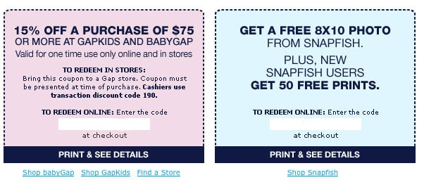 Step Six: Your Gap and Snapfish Special Offers!