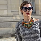 A tribal-feeling necklace gave new dimension to a chunky Fall knit.