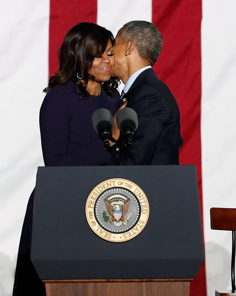 Cutest peck ever? Barack planted a sweet kiss on Michelle's cheek at a rally for Hillary Clinton in November.