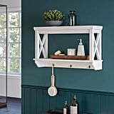 Wall-Mounted Cross Frame Shelf With Hook Rack