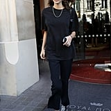 Kaia Gerber Kept Things Casual in Black Separates and Converse Sneakers