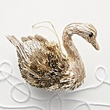 Metallic Beaded Swan Ornament