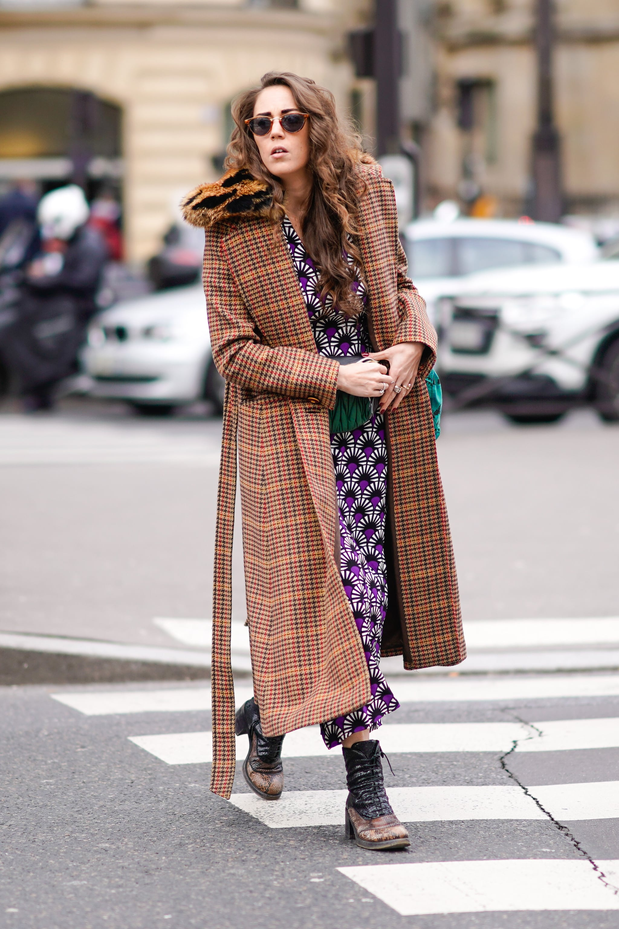 Mix and Match Your Printed Trench With a Long Dress and